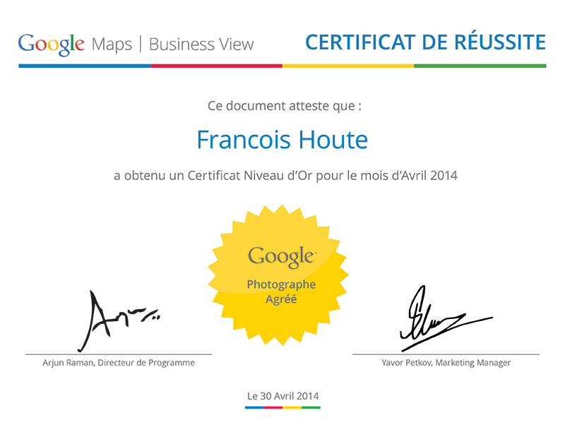 Certificat Or Avril 2014